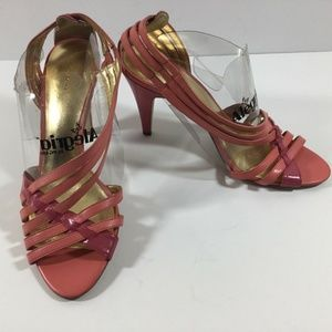 Coach Heels 9M Pink Faux Leather Strappy Sandals